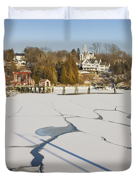 Rockport Maine in Winter Duvet Cover by Keith Webber Jr