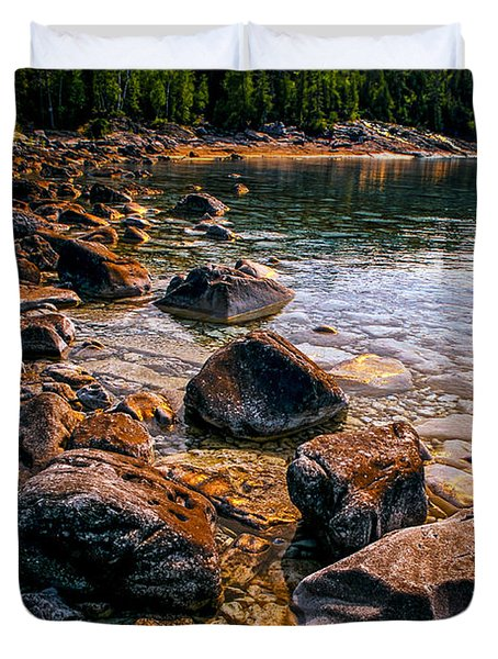 Rocks at shore of Georgian Bay Duvet Cover by Elena Elisseeva