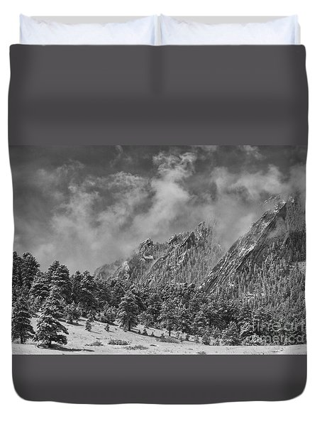 Rocky Mountain Dusting Of Snow Boulder Colorado Bw Duvet Cover by James BO  Insogna