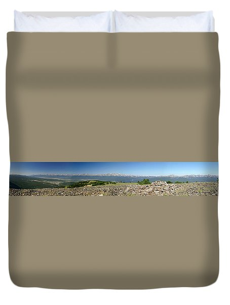 Rocky Mountain Rooftop Panoramic Duvet Cover by Jeremy Rhoades