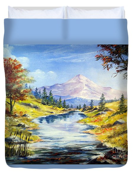 Rocky Mountain Stream Duvet Cover by Lee Piper