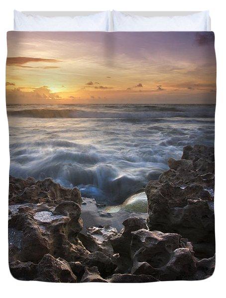 Rocky Shore Duvet Cover by Debra and Dave Vanderlaan