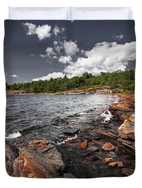 Rocky shore of Georgian Bay I Duvet Cover by Elena Elisseeva