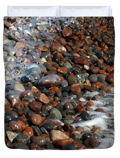 Rocky Shoreline Abstract Duvet Cover by James Peterson