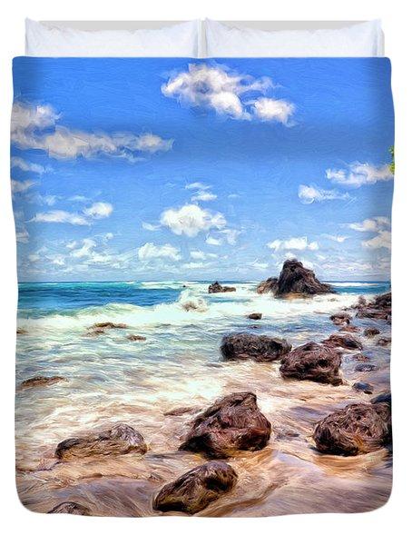 Rocky Shoreline Duvet Cover by Dominic Piperata
