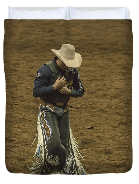 Rodeo Cowboy Dusting Off Duvet Cover by Janice Rae Pariza