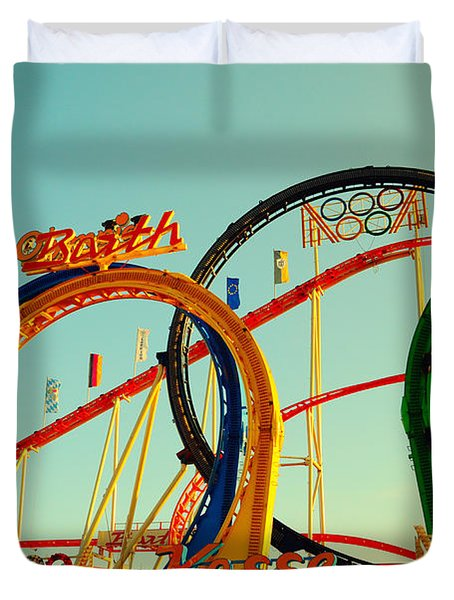 Rollercoaster At The Octoberfest In Munich Duvet Cover by Sabine Jacobs
