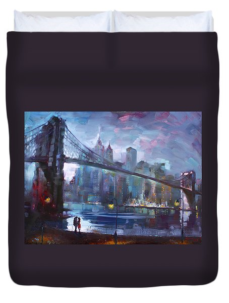 Romance By East River II Duvet Cover by Ylli Haruni