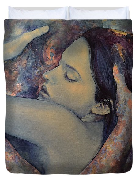 Romance With A Chimera Duvet Cover by Dorina  Costras