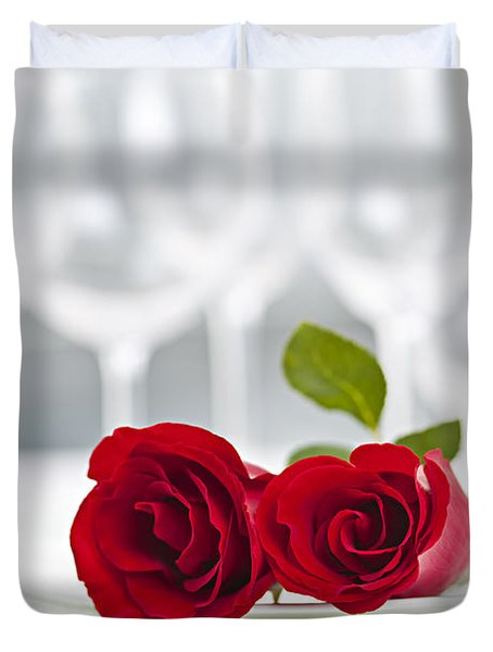 Romantic dinner setting Duvet Cover by Elena Elisseeva
