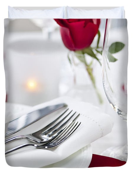 Romantic dinner setting with rose petals Duvet Cover by Elena Elisseeva
