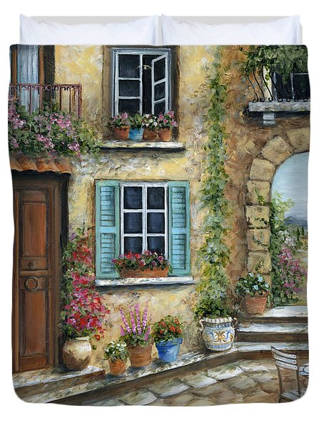 Romantic Tuscan Courtyard Duvet Cover by Marilyn Dunlap