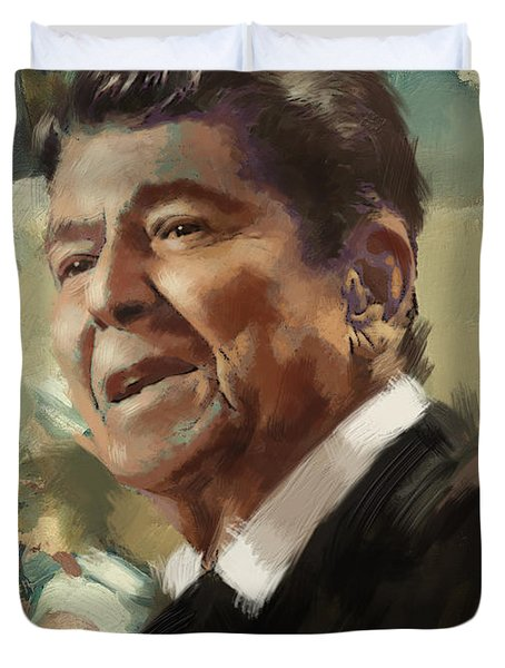 Ronald Reagan Portrait 5 Duvet Cover by Corporate Art Task Force