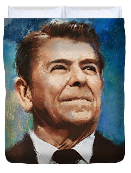 Ronald Reagan Portrait 6 Duvet Cover by Corporate Art Task Force