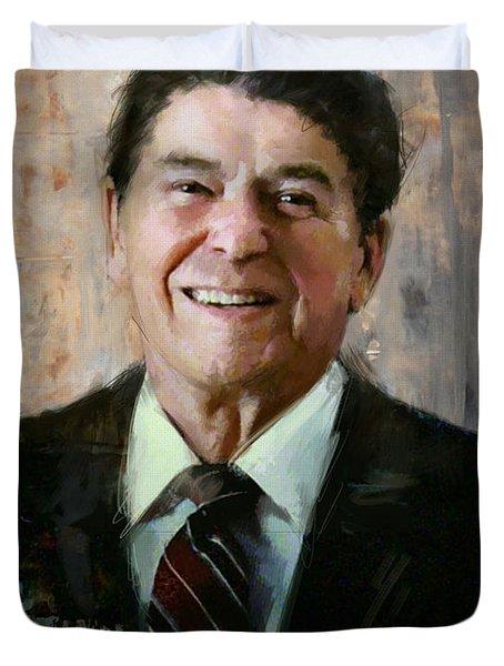 Ronald Reagan Portrait 7 Duvet Cover by Corporate Art Task Force
