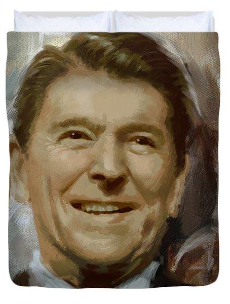 Ronald Reagan Portrait Duvet Cover by Corporate Art Task Force
