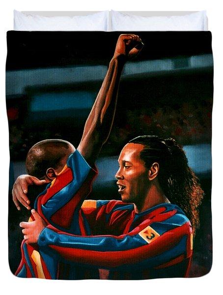 Ronaldinho And Eto'o Duvet Cover by Paul Meijering