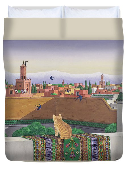 Rooftops In Marrakesh Duvet Cover by Larry Smart