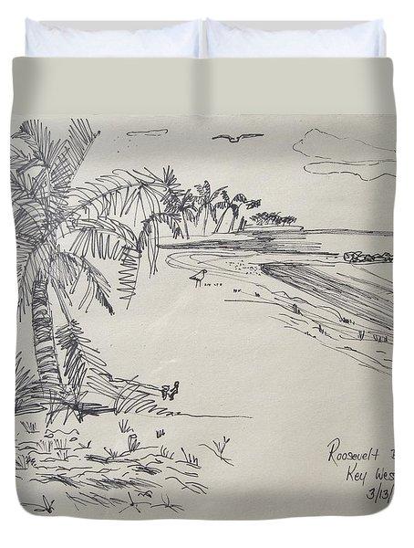 Roosevelt Blvd Beach  Key West Fla Duvet Cover by Diane Pape
