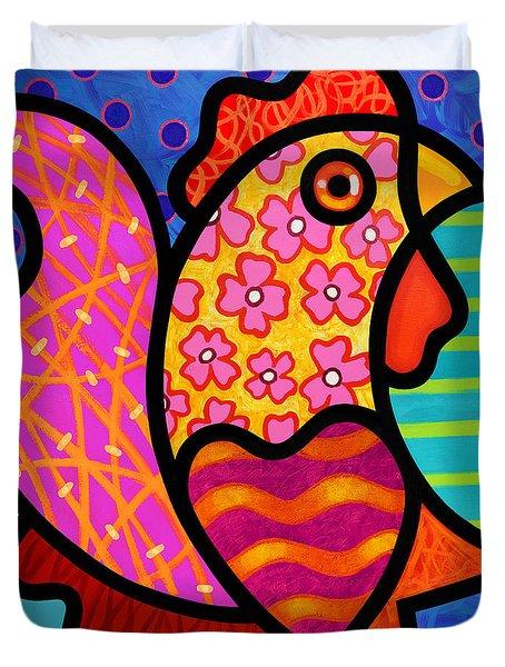 Rooster Dance Duvet Cover by Steven Scott