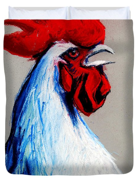 Rooster Head Duvet Cover by Mona Edulesco