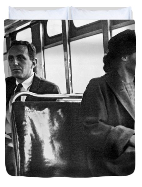 Rosa Parks On Bus Duvet Cover by Underwood Archives