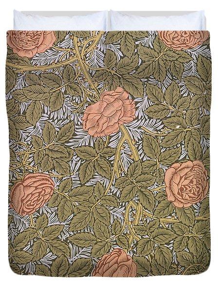 Rose 93 wallpaper design Duvet Cover by William Morris