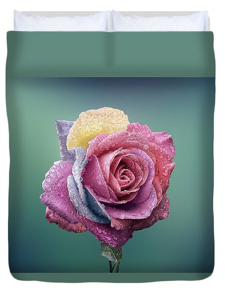 Rose Colorful Duvet Cover by Bess Hamiti