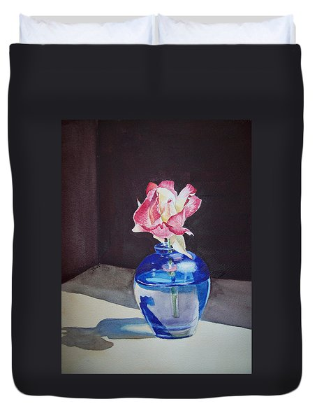 Rose In The Blue Vase II Duvet Cover by Irina Sztukowski