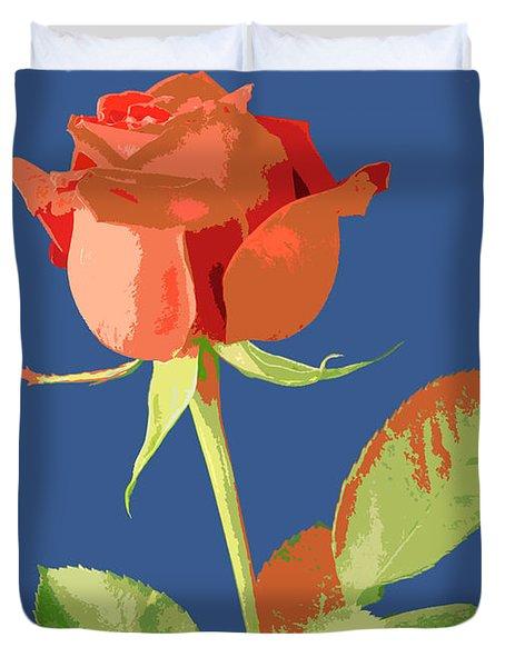 Rose On Blue Duvet Cover by Mauro Celotti