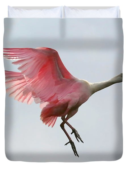Roseate Spoonbill In Flight Duvet Cover by Carol Groenen