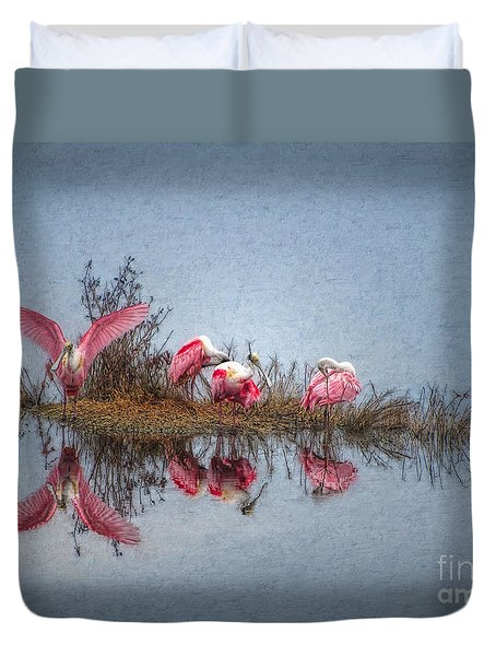 Roseate Spoonbills At Rest Duvet Cover by Lianne Schneider