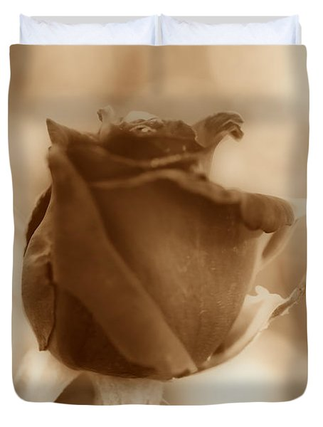 Rosebud Sepia Tone Duvet Cover by Cheryl Young