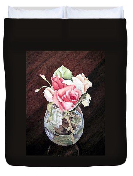 Roses In The Glass Vase Duvet Cover by Irina Sztukowski