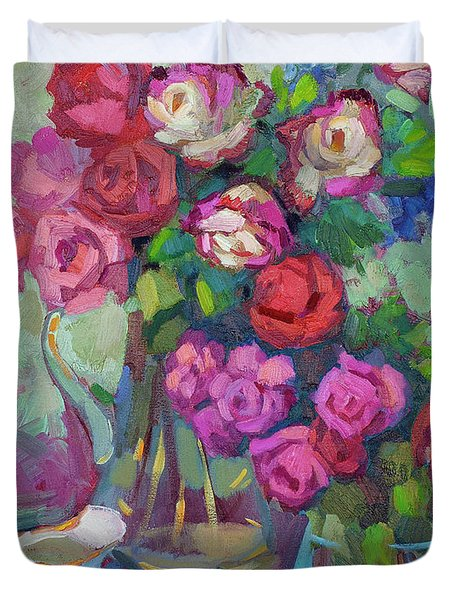 Roses In Two Vases Duvet Cover by Diane McClary