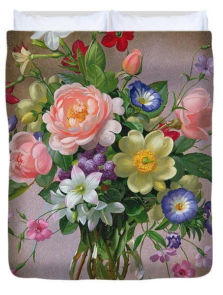 Roses Peonies And Freesias In A Glass Vase Duvet Cover by Albert Williams