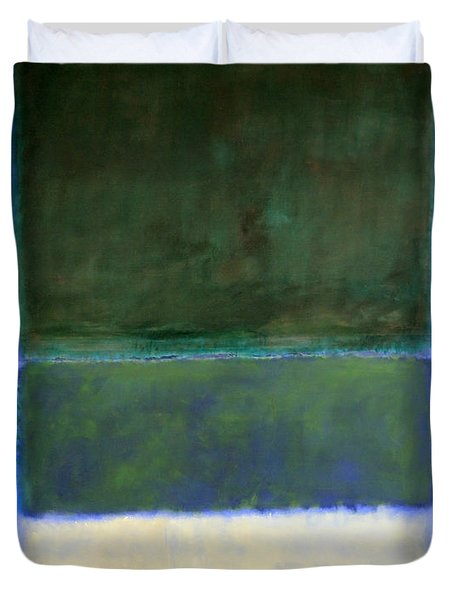 Rothko's No. 14 -- White And Greens In Blue Duvet Cover by Cora Wandel