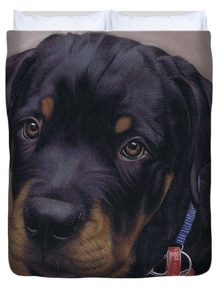 Rottweiler Dog Duvet Cover by Karie-Ann Cooper