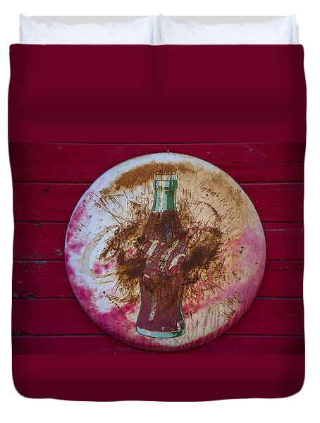 Round Coke Sign Duvet Cover by Garry Gay