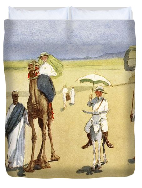 Round The Pyramids, From The Light Side Duvet Cover by Lance Thackeray