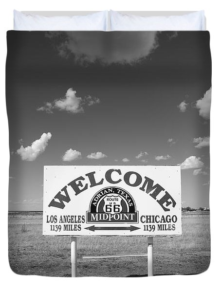 Route 66 - Midpoint Sign Duvet Cover by Frank Romeo