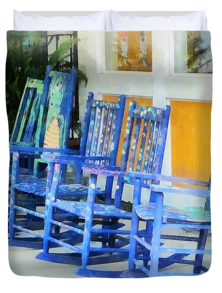 Row Of Blue Rocking Chairs Duvet Cover by Susan Savad