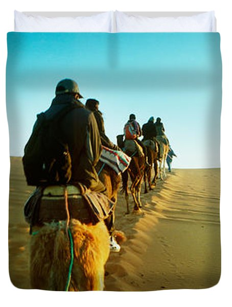 Row Of People Riding Camels Duvet Cover by Panoramic Images