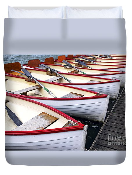 Rowboats Duvet Cover by Elena Elisseeva