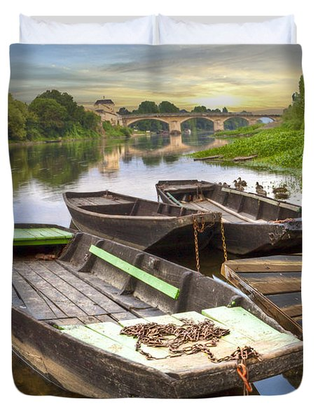 Rowboats on the French Canals Duvet Cover by Debra and Dave Vanderlaan