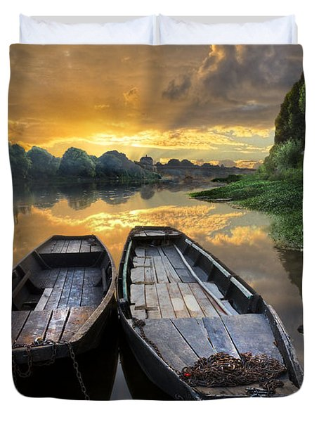 Rowboats on the River Duvet Cover by Debra and Dave Vanderlaan