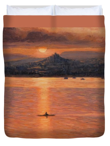 Rowing In The Sunset Duvet Cover by Marco Busoni