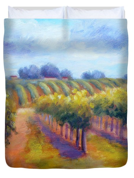 Rows Of Vines Duvet Cover by Carolyn Jarvis