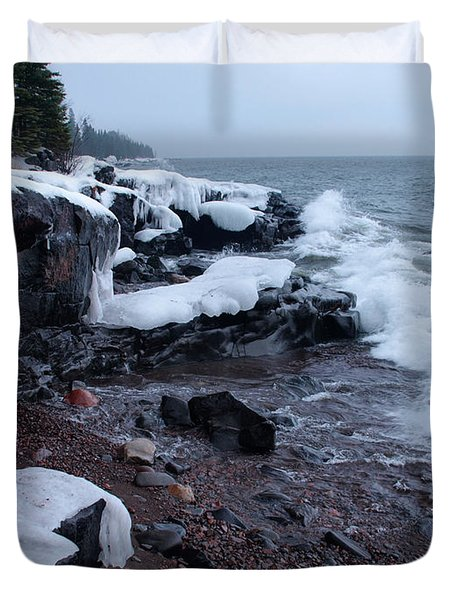 Rugged Shore Winter Duvet Cover by James Peterson