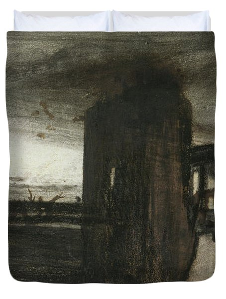 Ruins In A Landscape Duvet Cover by Victor Hugo